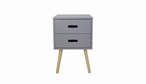 woodluv MDF 2 Drawer Bedside Side Table Storage Unit,Grey, 40 x 40 x 61.5 cm