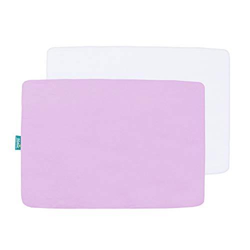 Biloban Pack N Play Sheets Fitted, 2 Pack Portable Playard Sheets, Ultra Soft Microfiber Pack and Play Sheets | Mini Crib Sheet, White & Lavender, Preshrunk
