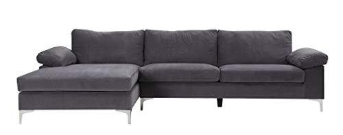 BHDesign Amanda New hoekbank, modern, 5 personen, velours, grijs