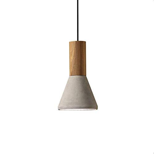 WEM Lámpara colgante industrial para lámpara de techo de madera con pantalla de cemento, lámpara colgante geométrica minimalista de araña, luces de suspensión con base E27 para comedor, isla de cocin