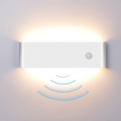 Wandleuchte Innen, Elitlife 12W LED Wandleuchte mit Bewegungsmelder Modern Up Down Wandlampe Wandbeleuchtung Aluminium für Schlafzimmer Flur Treppen [Energieklasse A+](Weiß,Warmweiß)