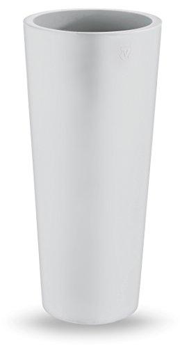 Zajsan - Vaso tondo moderno liscio, diametro 38cm x altezza 85cm, in resina, colore bianco