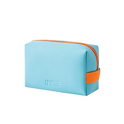 enioysun Neceser Bolso cosmético de Cuero Señoras Portátiles Portátiles Empresa de cosméticos Bolsa de Almacenamiento de Aseo de Viaje de Gran Capacidad (Color : Light Blue, Size : 16.5X 7X 11.5)