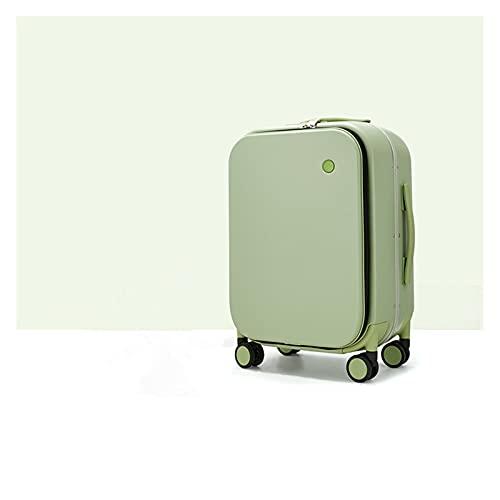 ZPDD Maleta con Estructura de Aluminio Equipaje con Ruedas Hermosa Cabina de embarque 18 20 24 Pulgadas (Color : Green, Size : 24 Inch)