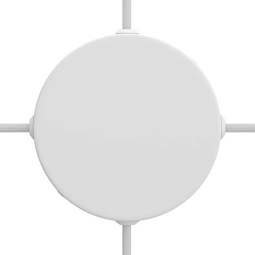 creative cables Kit rosetón cilíndrico de Metal 4 Agujeros Laterales (Caja de conexión) - Blanco Mate