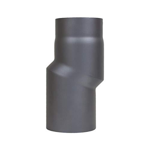 LANZZAS Rauchrohr Ofenrohr Kaminrohr Versatzbogen Doppelbogen Etagenbogen Versatz 20 mm /Ø 120 mm schwarz