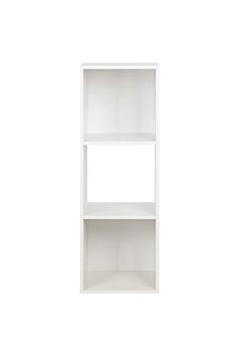 BAAB - Libreria in legno a 2/3/4/6 ripiani, con scaffali indipendenti, per riporre documenti, in salotto, camera da letto, camera dei bambini, studio, ogni cubo 28,5 cm 3 ripiani bianco