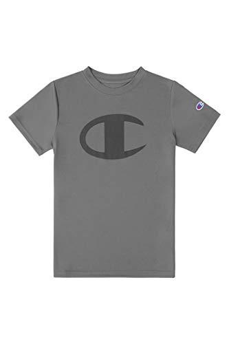 Champion Kids Clothes Boys Performance Big Logo Tech Athletic Tee Shirt (Large, Concrete)