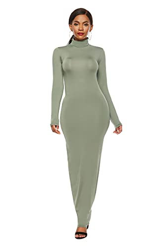 SLYZ Falda Larga De Color Sólido De Moda para Damas Europeas Y Americanas, Vestido De Cuello Alto Delgado Y Elástico De Manga Larga para Mujeres