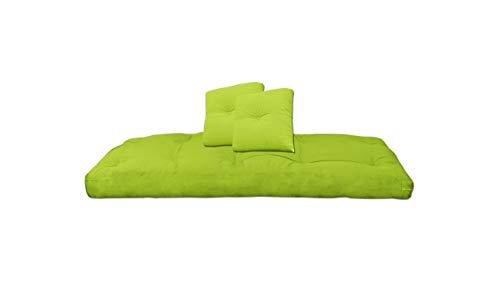 Futon On Line Futón de Algodón con Dos Cojines, Color Verde, 80x200x13 cm