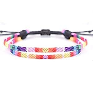 2 pulseras de orgullo para hombres y mujeres, brazalete de arco iris para LGBT gay lesbianas bisexuales bisexuales, impermeable y ajustable