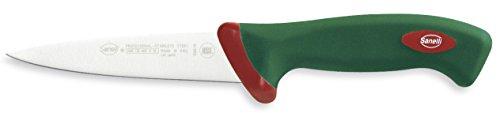 Sanelli Premana Professional Coltello da Scannare, Acciaio Inossidabile, Verde/Rosso, 14 cm