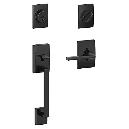 Schlage Lock Company F60 622 LAT CEN Century Front Entry Handleset with Latitude Lever Deadbolt Keyed 1 Side, Matte Black