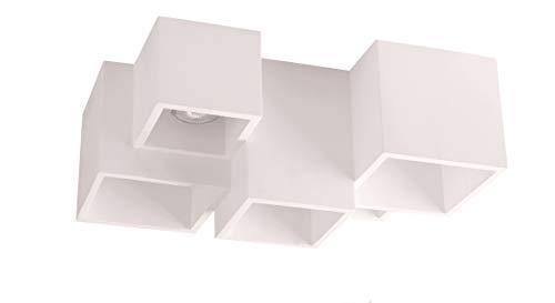 Plafoniera bianca design moderna 5 cubi da soffitto verniciabile per lampadine gu10 led luminosa per interni
