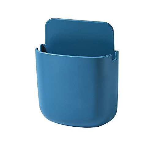 Caja de almacenamiento de control remoto simple libre de mesa perforada lateral pared colgante aire acondicionado tablero de control remoto mesita de noche teléfono móvil almacenamiento rack (azul)