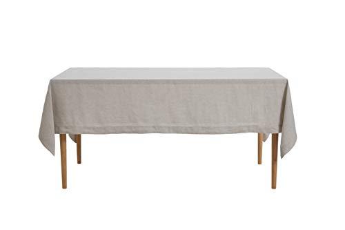 DAPU Tischdeck aus reinem Leinen 100% Französischer Flachs für die Küche Esstischdekoration (Naturleinen, Tischdecke 140cm x 220cm)