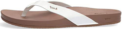 Reef Women's Sandals Cushion Court   Vegan Leather Flip Flops Straps   Cloud   Size 8