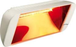 HELIOSA 66 mit neuen Heizlampen - Amber Light - Infrarotstrahler 2000 Watt IPX5, aus robustem Aluminium-Druckguss hergestellt und mit thermoplastischen Lacken für den Außenbereich lackiert. Kurzwellen - Heizstrahler für Indoor und Outdoor geeignet, Farbe: Carrara Weiß