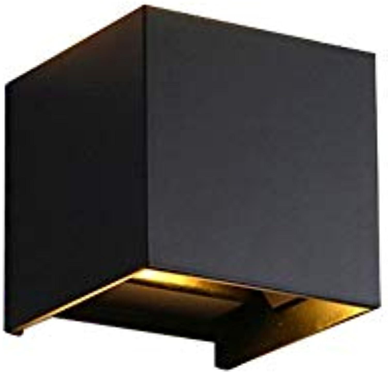 QQ HAO LED Wandleuchte Hotelzimmer Nachtwandleuchte Einfache quadratische Verdunklungswandleuchte aus Aluminium,schwarz