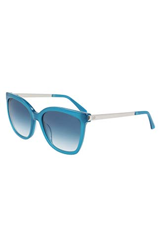 Calvin Klein Gafas de sol cuadradas para mujer Ck21703s, Azul azulado lechoso, 55/18/140