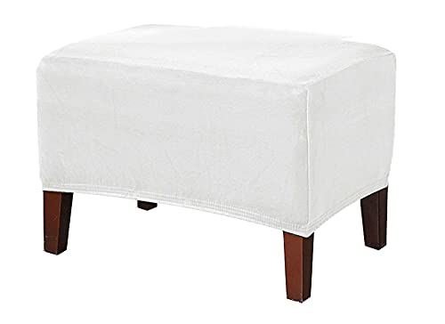 Osmansk överdragsklädsel I Sammet, Plush Stretch High Stretch Footstool Protector Cover För Fotstöd Ottomanska Möbler-vit