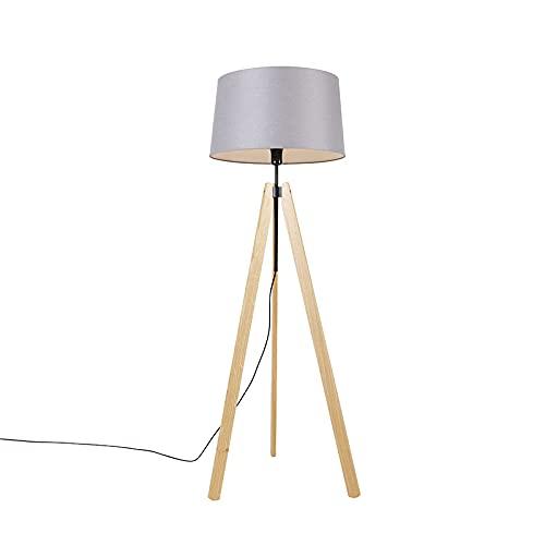 QAZQA Moderno Vloerlamp tripod hout met linnen kap donkergrijs 45 cm - telu Madera/Lino Alargada Adecuado para LED Max. 1 x 40 Watt