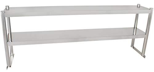 Beeketal 'BTA-180' Küchen Arbeitstisch Aufsatzboard 180 cm aus Edelstahl mit 2 Ablageflächern (Tragkraft je Ablage 15 kg) - Regal Aufsatz zur Montage auf Beeketal Gastro Küchentischen