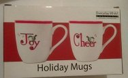 Everyday White Porcelain Holiday Mugs Joy and Cheer