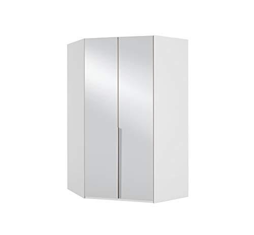 lifestyle4living Eckkleiderschrank 2 türig in weiß. Kleiderschrank mit Spiegel. Aufstellmaße des Schrankes ca. 120 x 120 cm.