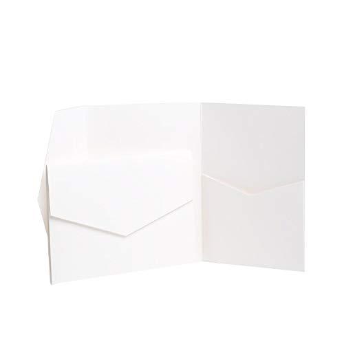 Pocketfold Invites Ltd., klappbare Einladungskarte mit Umschlag, matt, weiß, 130 x 185 mm weiß