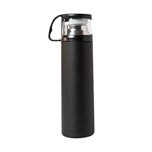Mask.ok 2in1 Termos borraccia termica bottiglia contenitore bicchiere cup porta mantiene caldo fresco per estate inverno camping barca mare montagna (Nero)
