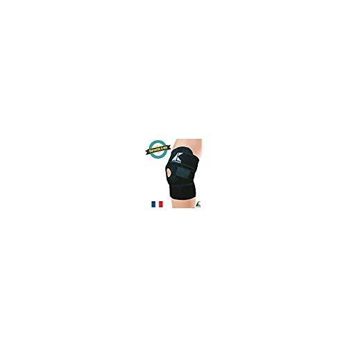 Genouillère rotulienne en néoprène noir à scratch - Nouvelle version - Garantie à vie Astrekk - Souple et respirante - Tour de genou de 35 a 55cm - Orthèse pour genou, idéal pour crossfit, volley, basket, foot, football, sport, ...