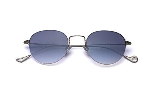 Eyepetizer Occhiali da sole Unisex modello Olivier colore asta argento matt e lente blu flash