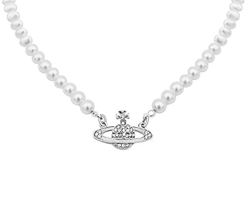 LIHELEI Collar de perlas Saturno para mujer, collar de perlas planeta, collar de plata de ley Saturno perla, gargantilla de orbe de perlas, joyería minimalista, Perla,