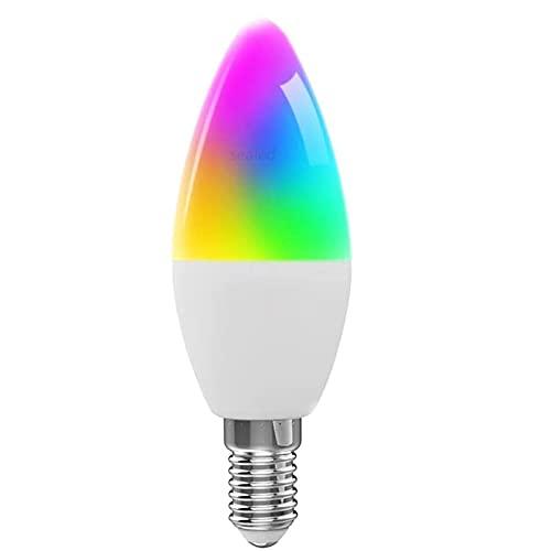 Lámpara de Alexa inteligente, Bombilla de luz de vela LED inteligente Wifi, Compatible con Amazon Alexa y Google Home, Lámpara de escritorio RGB con control de voz de Alexa Graffiti Smart Lif,E12