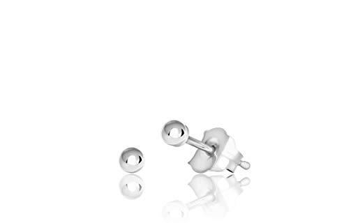 14K White Gold Ball Stud Earrings (2mm - White Gold)