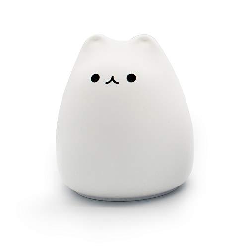 LAZY CAT Lámpara de noche LED con sensor de luz táctil, lámpara colorida para dormitorio o decoración de escritorio (color emisor: sonrisa)