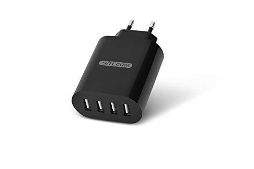 Sitecom CH-011 28W USB Wall Charger – 4 Porte USB-A, Caricabatterie USB da Muro con Presa UE per Ricarica Rapida simultanea di 4 dispositivi, Smartphone e Tablet, Universale