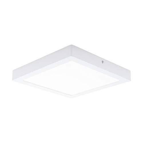 EGLO LED Deckenleuchte Fueva 1, 1 flammige Deckenlampe, Material: Metallguss, Kunststoff, Farbe: Weiß, L: 30x30 cm, warmweiß