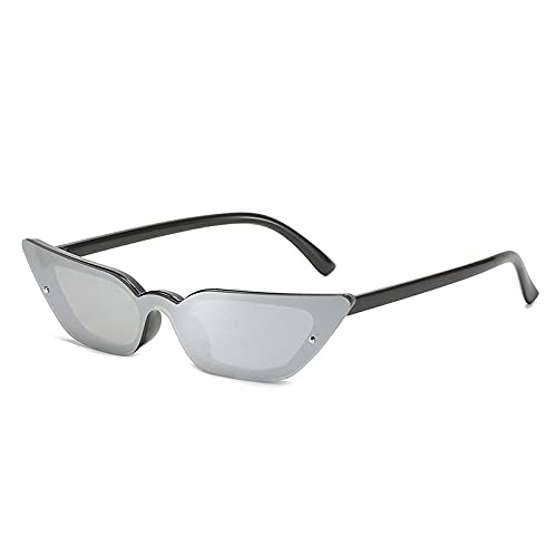Gafas De Sol Hombre Mujeres Ciclismo Gafas De Sol Pequeñas De Moda para Mujer, Gafas De Espejo De Color Vintage, Gafas De Sol para Hombre, Gafas De Sol-Black_Silver_Mirror