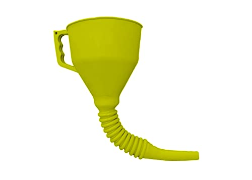 FlexAll Funnel - Flexible Rubber Funnel with Handle, Multiple Sizes and Colors, Made in The USA (Large, Yellow)