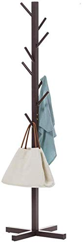 Kapstok staande garderobe en hoedenplank met 8 haken houten kledingrek voor hal slaapkamer ontvangstruimte (kleur: notenboom kleur) Walnut Color