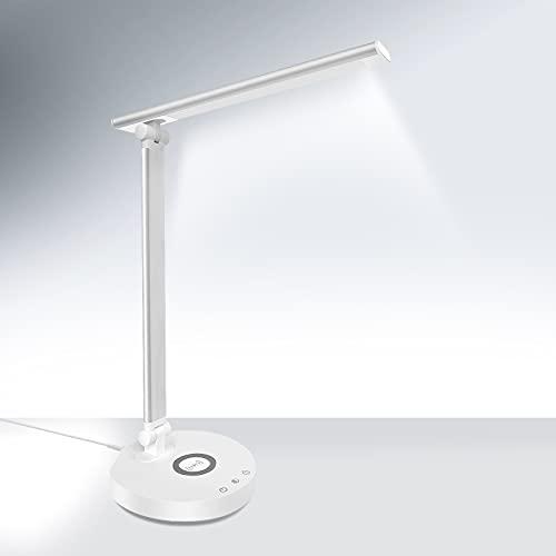 Lampara Escritorio,Lámpara Escritorio LED con Cargador Inalámbrico, 5 Modos,5 Niveles De Brillo, Lámpara Para Escritorio Temporizador De 45 Minutos,Puerto USB[Clase de eficiencia energética A++]