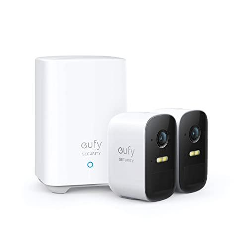 eufy Security Sistema de Cámara Vigilancia WiFi Exterior Inalámbrica eufyCam 2C, Cámara de Seguridad, 180 días Autonomía de la Batería, HD 1080p, IPX65, Visión Nocturna, Compatible con Alexa