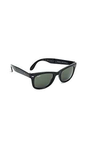 Ray-Ban RB4105 Wayfarer Folding Sunglasses, Black/Green, 54 mm