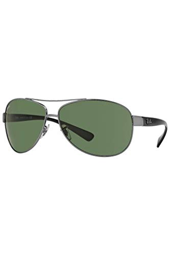 Ray-Ban Aviator Wrap Gafas de sol color verde oscuro RB3386 004/71 67 67 67 Crystal Green