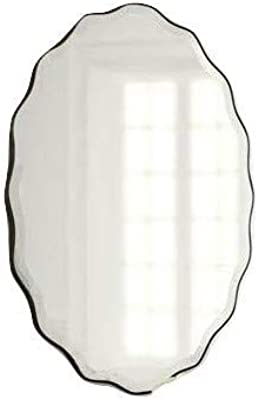 FALCON Curly Oval Beveled Polish Frameless Wall Mirror with Hanging Clamp Size 18 * 24 INCH