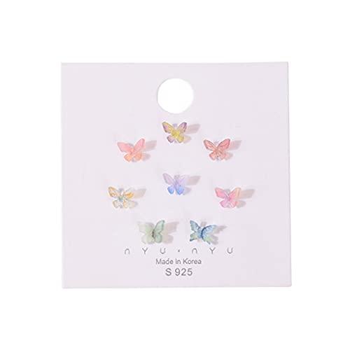 KORGALEY Pendiente de Perno Prisionero de Mariposa acrílico 3D de 8 Piezas Pendiente de Mariposas de Hadas Coloridas Simples