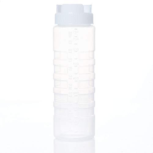 Kerafactum Quetschflasche Squeeze Flasche Dosierflasche Saucenflasche | Ketchup Spender Soßenflaschen Pancake Bottle Mayo Senf | Plastik Quetschflaschen für Dicke Sauce Soßen Kopfflasche | 1 White