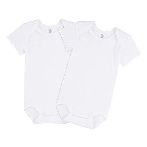Sanetta Lot de 2 bodies pour bébé - Unisexe - Manches courtes - En coton biologique - Blanc - 18 mois